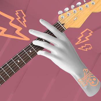 Collage guitarra mano espacio q